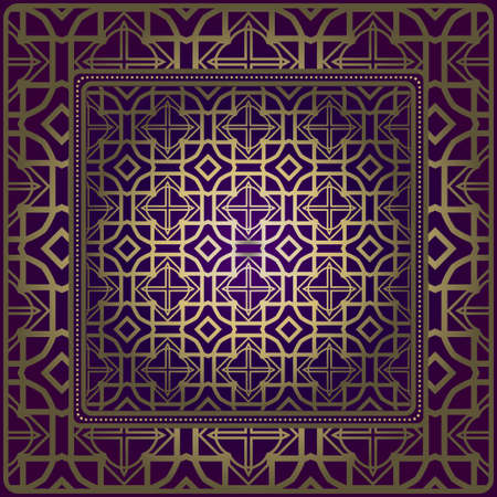 Geometric Ornament With Frame, Border. Art-Deco Background. Bandanna, Shawl, Scarf, Tablecloth Design. Illustration