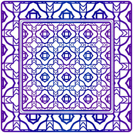 Design Of A Scarf With A Geometric Pattern . Vector Illustration. Seamless. For Print Bandana, Shawl, Carpet, Tablecloth, Bed Cloth, Fashion.