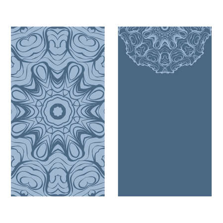 Yoga Card Template With Mandala Pattern. For Business Card, Fitness Center, Meditation Class. Vector Illustration. Patel blue color.