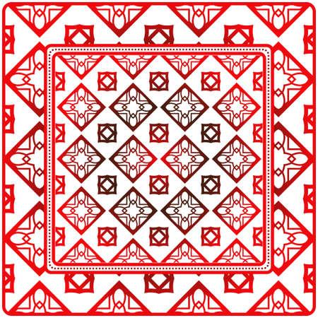 Fondo, patrón geométrico con marco de encaje adornado. Ilustración. Para estampado de bufanda, tela, fundas, álbum de recortes, pañuelo, pareo, chal