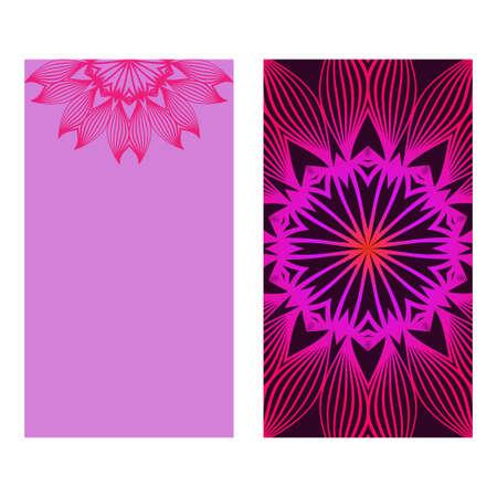 Floral Mandala Pattern. Vector Flyer Oriental Design. Flyer. Purple color. Çizim
