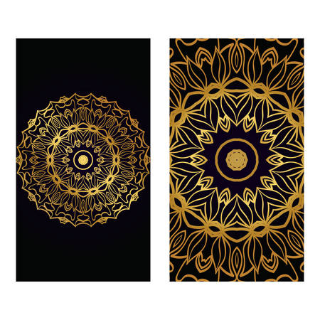Visit Card Template With Floral Mandala Pattern. Vector Template. Islam, Arabic, Indian, Mexican Ottoman Motifs. Hand Drawn Background. Luxury black gold color. Illustration
