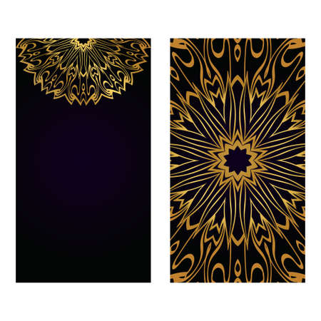 Luxury black gold color Templates Card With Mandala Design. Vector Illustration. For Visit Card, Business, Greeting Card Invitation Standard-Bild - 121576662
