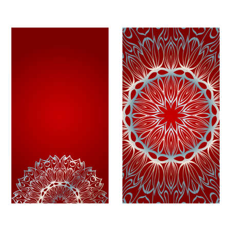 Design Vintage Cards With Floral Mandala Pattern And Ornaments. Vector Illustatration. The Front And Rear Side. Red silver color.