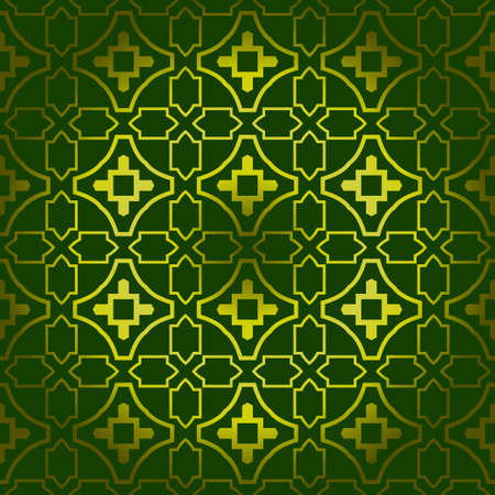 Vector Seamless Pattern With Abstract Geometric Style. Repeating Sample Figure And Line. For Fashion Interiors Design, Wallpaper, Textile Industry. Green olive color. Vetores
