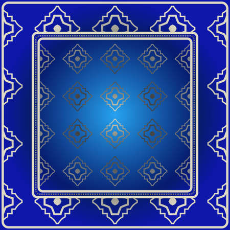 Decorative Colorful Ornament With Decorative Border. For Fashion Print, Bandanna, Tablecloth, Neck Scarf. Blue silver color