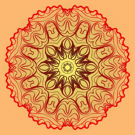 Beautiful Floral Ornament. Vector Illustration. Tribal Ethnic Ornament With Mandala. Anti-Stress Therapy Pattern. Indian, Moroccan, Mystic, Ottoman Motifs. Sunrise color.