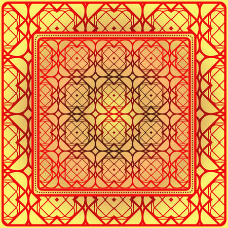 Geometric Pattern With Hand-Drawing Ornament. Vector Illustration. For Fabric, Textile, Bandana, Scarg, Print.