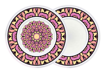 Set of Design Mandala Ornament and round frame. Vector Illustration. Round Geometric Floral Pattern. Oriental Pattern. Indian, Moroccan, Mystic, Ottoman Motifs. Anti-Stress Therapy Pattern.