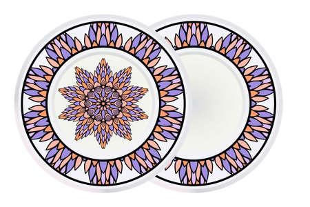 Set of Flower Round Pattern and round frame. Vector Illustration. For Design, Invitation Wedding, Valentines, Background, Wallpaper, Interior.