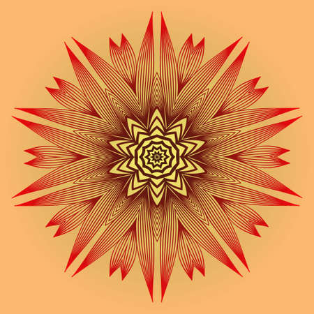 Ornamental Circle Pattern. Sacred Oriental Mandala. Color Floral Ornament. Vector Illustration. For Coloring Book, Card, Invitation, Tattoo. Anti-Stress Therapy Pattern. Red orange gold colour 矢量图像
