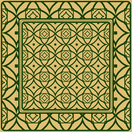 Decorative Ornament With Geometric Decoration. Symmetric Pattern . For Print Bandanna, Shawl, Tablecloth, Fabric Fashion, Scarf, Design.