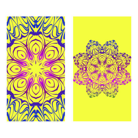 Set Of Template Greeting Card, Invitation With Space For Text. Mandala Design. Vector Illustration. Rainbow color.