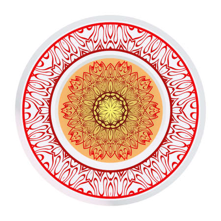 Round Symmetrical Pattern. Mandala. Kaleidoscopic Design. Vector Illustration. Oriental Pattern. Indian, Moroccan, Mystic, Ottoman Motifs. Anti-Stress Therapy Pattern Ilustração