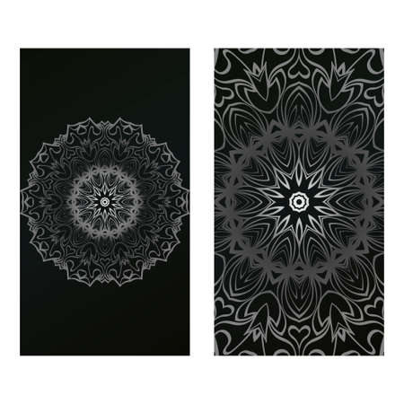 Invitation Or Card Template With Floral Mandala Pattern. For Wedding, Greeting Cards, Birthday Invitation. The Front And Rear Side. Vector Illustration. Silver black color.