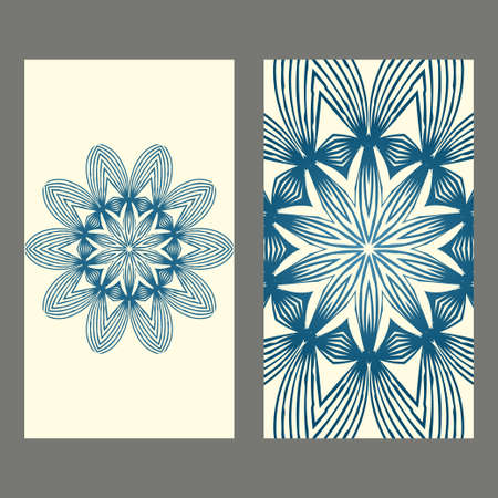 Card Template With Floral Mandala Pattern. Business Card For Fitness Center, Sport Emblem, Meditation Class. Vector Illustration. Pastel color.
