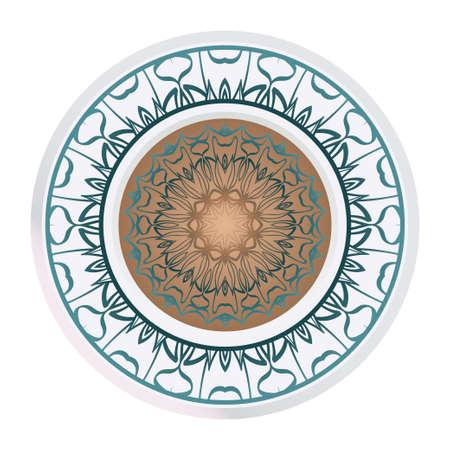 Round Pattern Flower Mandala. Circle Floral Ornament. Legend Decorative Vector Illustration.