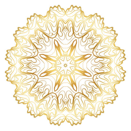 Design With Beautiful Floral Mandala. Vector Illustration. For Coloring Book, Greeting Card, Invitation, Tattoo. Anti-Stress Therapy Pattern. Gold color.