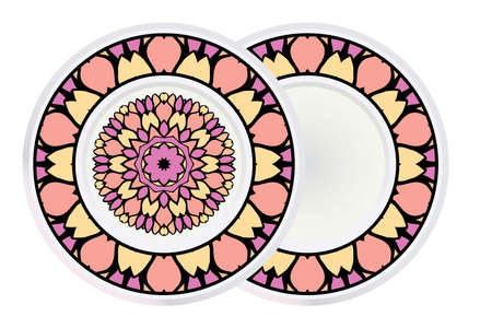 Set of two Decorative Round Mandala From Floral Elements with border. Vector Illustration. For Coloring Book, Greeting Card, Invitation, Tattoo. Anti-Stress Therapy Pattern. Ilustração