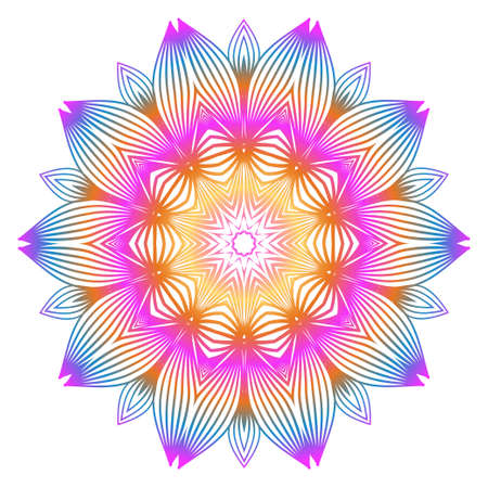 Anti-Stress Therapy Pattern. Mandala. For Design Backgrounds. Vector Illustration. Can Be Used For Textile, Greeting Card, Coloring Book, Phone Case Print. Rainbow color.