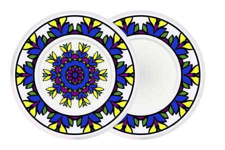 Set of two Decorative Ornament With Mandala and round frame. Home Decor Background. Vector Illustration. For Coloring Book, Greeting Card, Invitation, Tattoo. Anti-Stress Therapy Pattern.