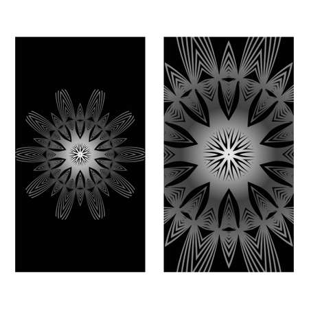 Vintage Cards With Floral Mandala Pattern. Vector Template. The Front And Rear Side. Black silver color. Illustration