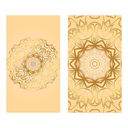 Collection Card With Relax Mandala Design. For Mobile Website, Posters, Online Shopping, Promotional Material. Gold color.