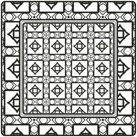 Design For Square Fashion Print. For Pocket, Shawl, Textile, Bandanna. Geometric Pattern. Vector Illustration
