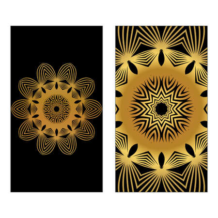 Flyer With Floral Mandala Ornaments. Vector Oriental Design. Islam, Arabic, Indian, Ottoman Motifs. Luxury black gold color.