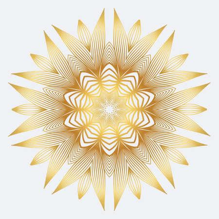 Modern Floral Vector Ornaments. Decorative Flower Mandala. Vector Illustration. White yellow gold colour.