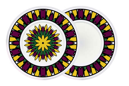 Set of two Decorative Round Color Ornament For Interior Design. Tribal Ethnic Ornament With Mandala. Home D�cor. Vector Illustration.