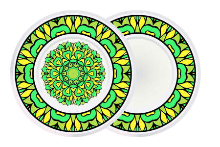 Set of two Decorative Round Mandala From Floral Elements with border. Vector Illustration. For Coloring Book, Greeting Card, Invitation, Tattoo. Anti-Stress Therapy Pattern. Illustration