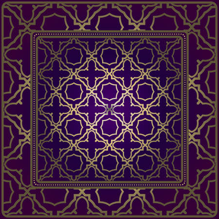 Background, Geometric Pattern With Ornate Lace Frame. Illustration. For Scarf Print, Fabric, Covers, Scrapbooking, Bandana, Pareo, Shawl.