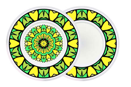 Set of Round Floral Mandala Ornament and frame. Vector Illustration. Isolated. Oriental Design Layout. Vectores