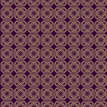 Modern Stylish Geometry Seamless Pattern Art Deco Background. Luxury Texture For Wallpaper, Invitation. Vector Illustration. Purple gold color.