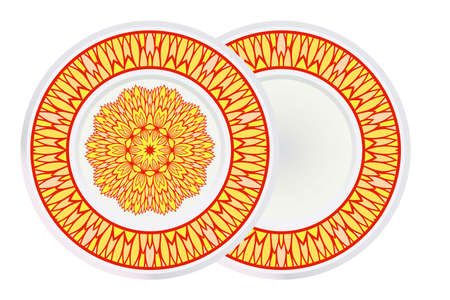 Set of two Decorative Round Color Ornament For Interior Design. Tribal Ethnic Ornament With Mandala. Home Décor. Vector Illustration.