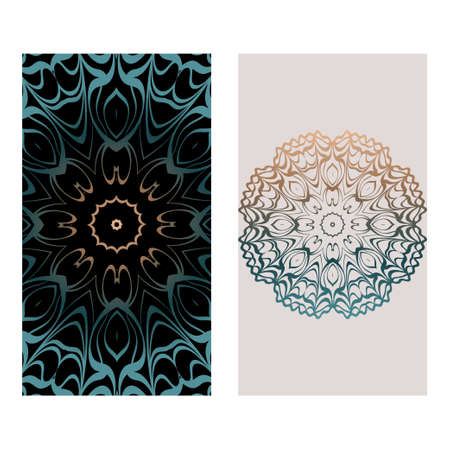Relax Cards With Mandala Formed Flowers, Boho Style, Vector Illustration. For Wedding, Bridal, Valentine's Day, Greeting Card Invitation. Fantasy color. Ilustracja