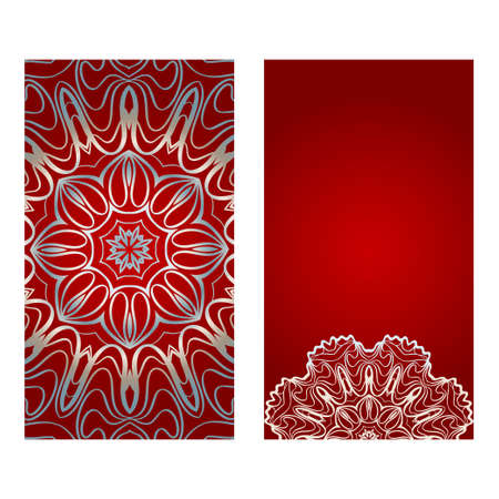 Vintage Invitation Card With Mandala Pattern. The Front And Rear Side. Beautiful Ornament. Vector Illustration. red silver color. Vettoriali