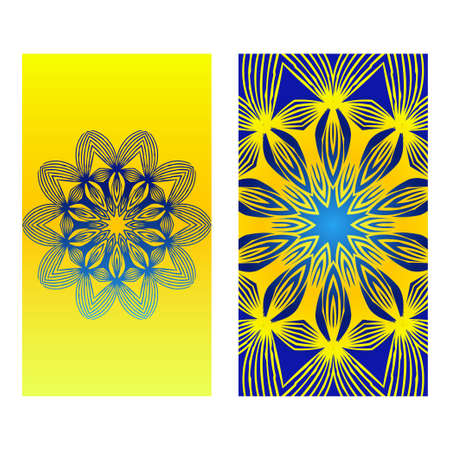 Relax Cards With Mandala Formed Flowers, Boho Style, Vector Illustration. For Wedding, Bridal, Valentines Day, Greeting Card Invitation. Blue yellow color. Ilustração