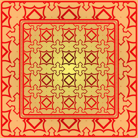 Decorative Ornament With Geometric Decoration. Symmetric Pattern . For Print Bandanna, Shawl, Tablecloth, Fabric Fashion, Scarf, Design. Sunrise color.