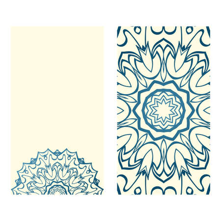 Templates For Greeting And Business Cards. Vector Illustration. Oriental Pattern With. Mandala. Wedding Invitation. Blue milk color. Illustration