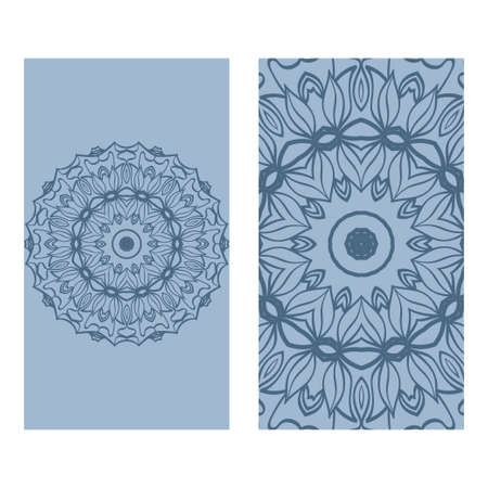 Ethnic Mandala Ornament. Templates With Mandalas. Vector Illustration For Congratulation Or Invitation. The Front And Rear Side. Blue pastel color. Banco de Imagens - 121612304