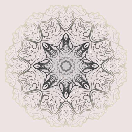 Design Mandala Ornament. Vector Illustration. Round Geometric Floral Pattern. Oriental Pattern. Indian, Moroccan, Mystic, Ottoman Motifs. Anti-Stress Therapy Pattern. Pastel color.