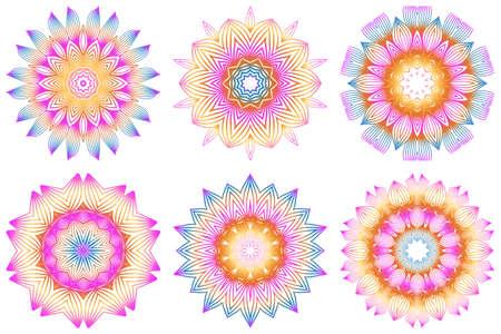 Set of Floral Color Mandala. Arabic, Indian, Motifs. Vector Illustration. Rainbow color.