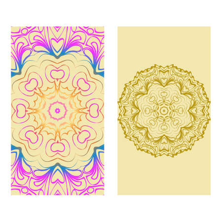 Vintage Cards With Floral Mandala Pattern. Vector Template. The Front And Rear Side. rainbow color. Illustration