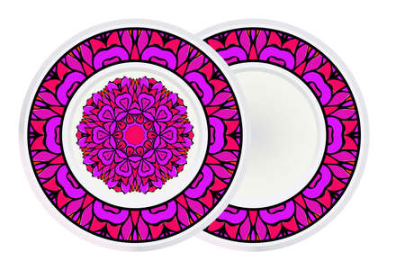 Set of Circle Floral Pattern and frame. Hand Draw Mandala. Decorative Elements. Vector Illustration. Anti-Stress Therapy Pattern.