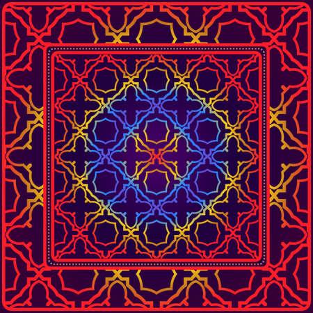 Fondo, patrón geométrico con marco de encaje adornado. Ilustración. Para estampado de bufanda, tela, fundas, scrapbooking, bandana, pareo, chal.