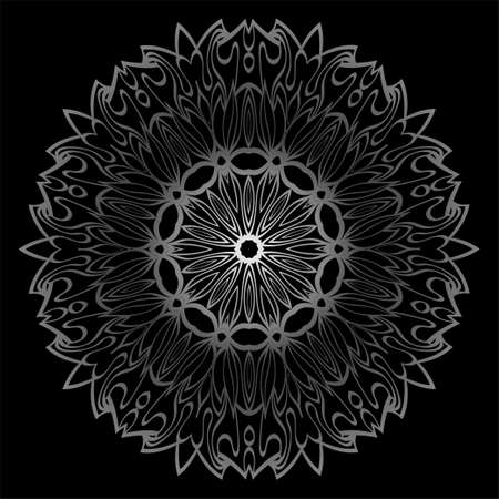 Mandala Ornament. Vector Illustration. For Wedding, Bridal, Valentine's Day, Card Invitation. Oriental Pattern. Indian, Moroccan, Mystic, Ottoman Motifs. Anti-Stress Therapy Pattern. Silver, black