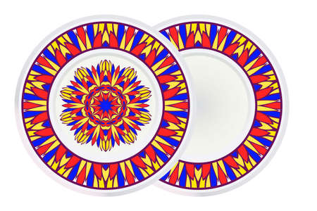 Set of two Decorative Round Mandala From Floral Elements with border. Vector Illustration. For Coloring Book, Greeting Card, Invitation, Tattoo. Anti-Stress Therapy Pattern. 矢量图像