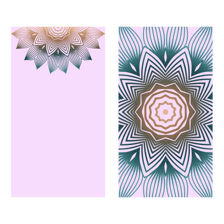 Design Vintage Cards With Floral Mandala Pattern And Ornaments. Vector Template. Islam, Arabic, Indian, Mexican Ottoman Motifs. Hand Drawn Background. Romantic color.